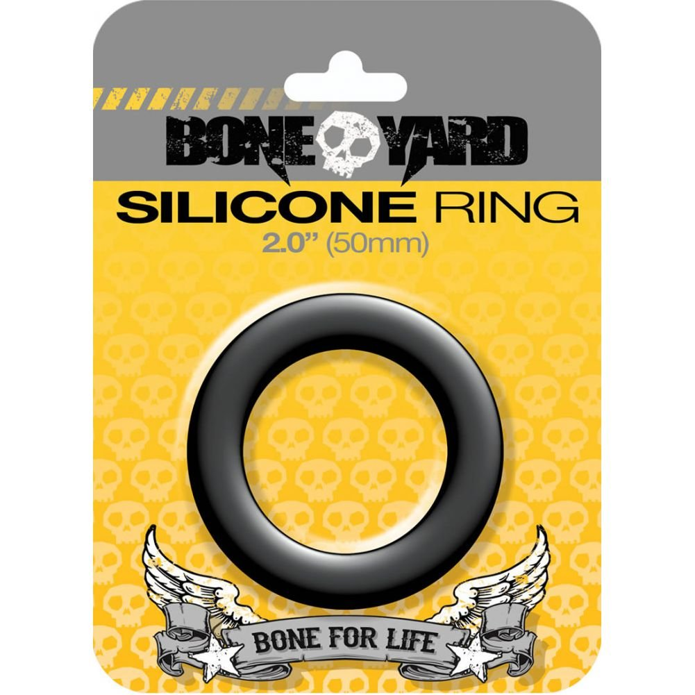 "Rascal Bone Yard Silicone Cockring Black 2"" Diameter - View #1"
