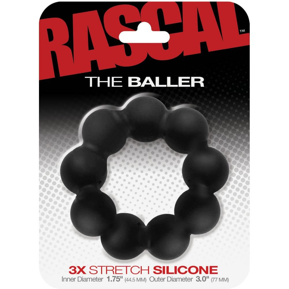 "Rascal Baller Silicone Beaded Cock Ring Black 3"" Diameter - View #1"