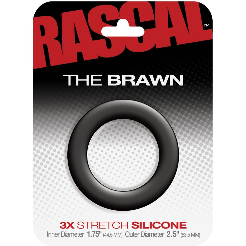 "Rascal Brawn Silicone Cock Ring Black 2.5"" Diameter - View #1"