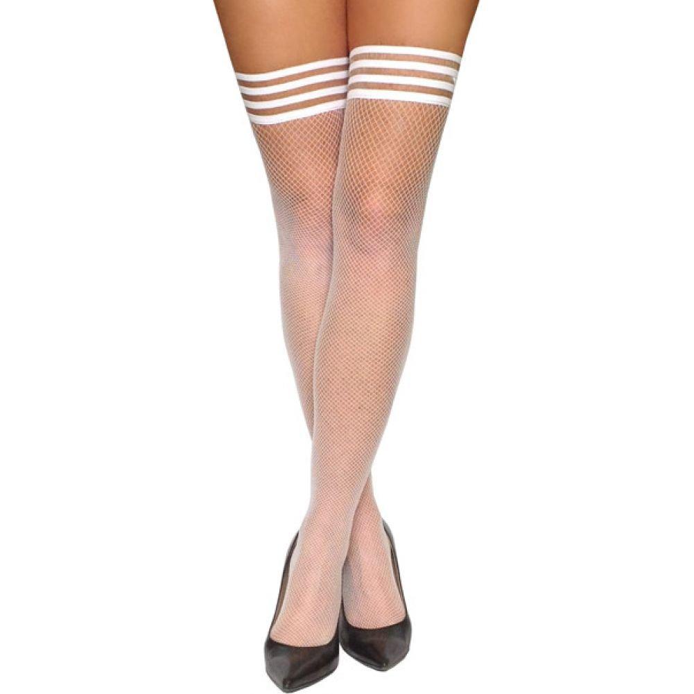 KixIes Sammy Fishnet Thigh High White B - View #1