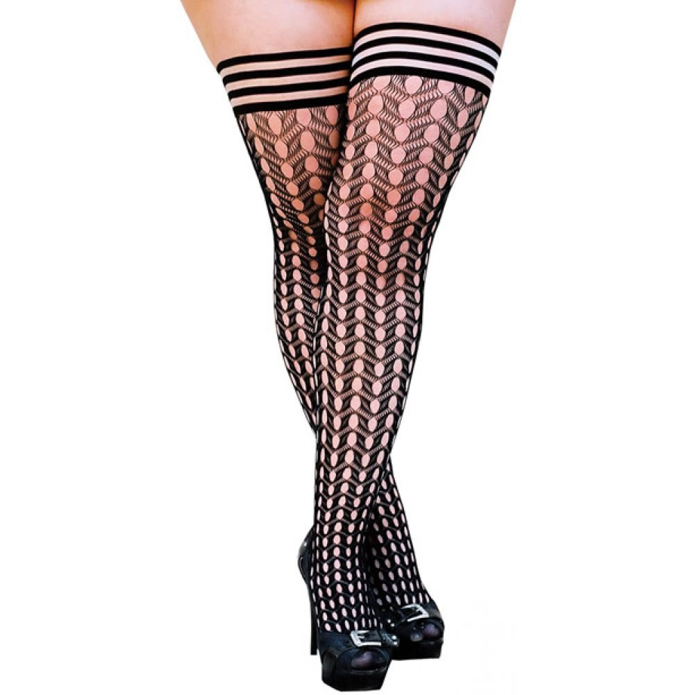 KixIes Mimi Dot Fishnet Polka Dot Thigh High Black D - View #1
