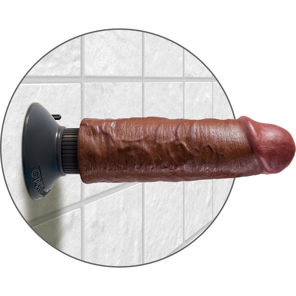 "King Cock 6"" Cock Brown Vibrating - View #4"