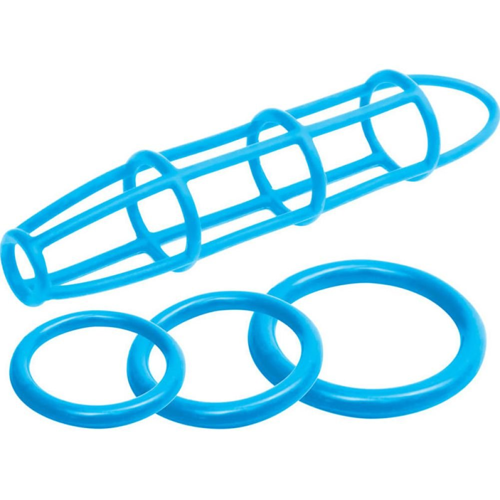 Pipedream Neon Silicone Cage and Love Ring Set Blue - View #2