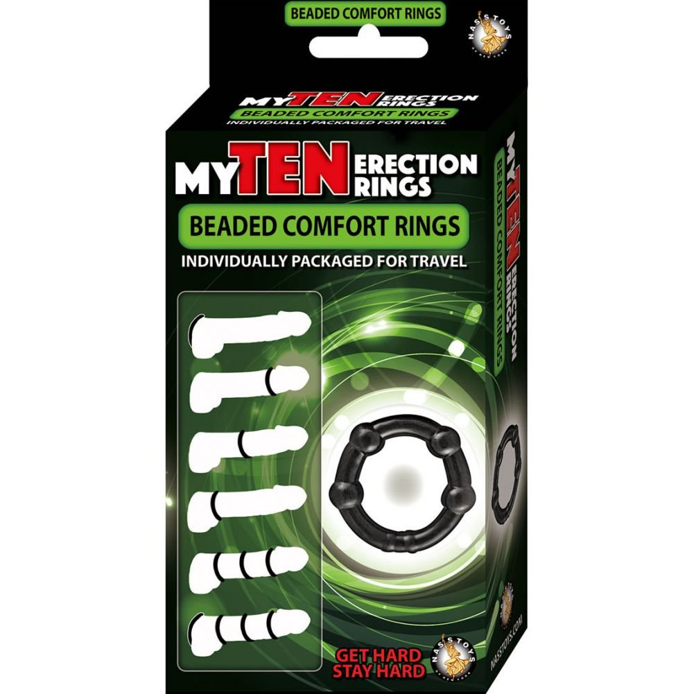 Nasstoys My TEN Beaded Erection Rings Kit with Lube Black - View #1