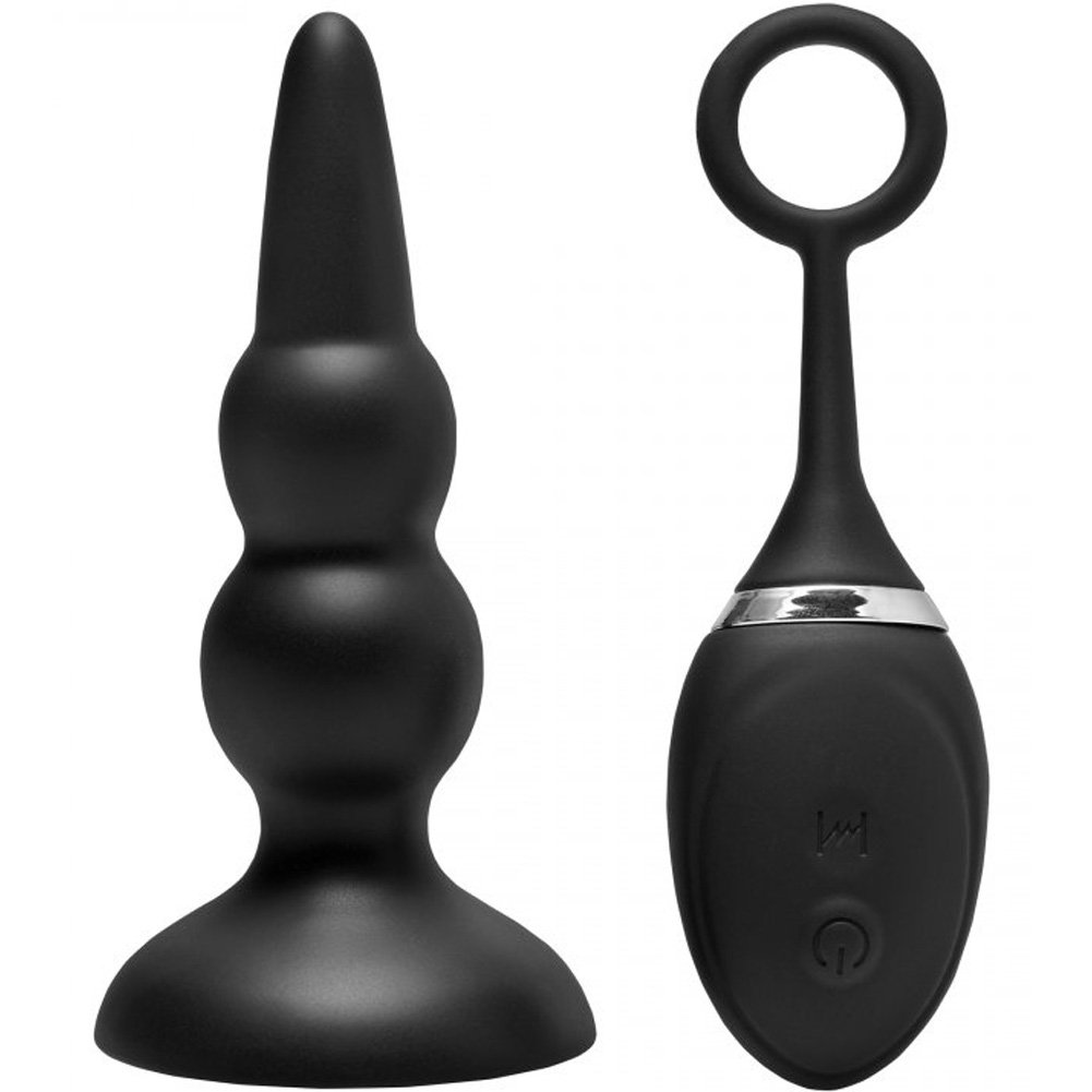 "XR Brands Prostatic Play Force 12 Mode Remote Control Silicone Anal Plug 5"" Black - View #2"