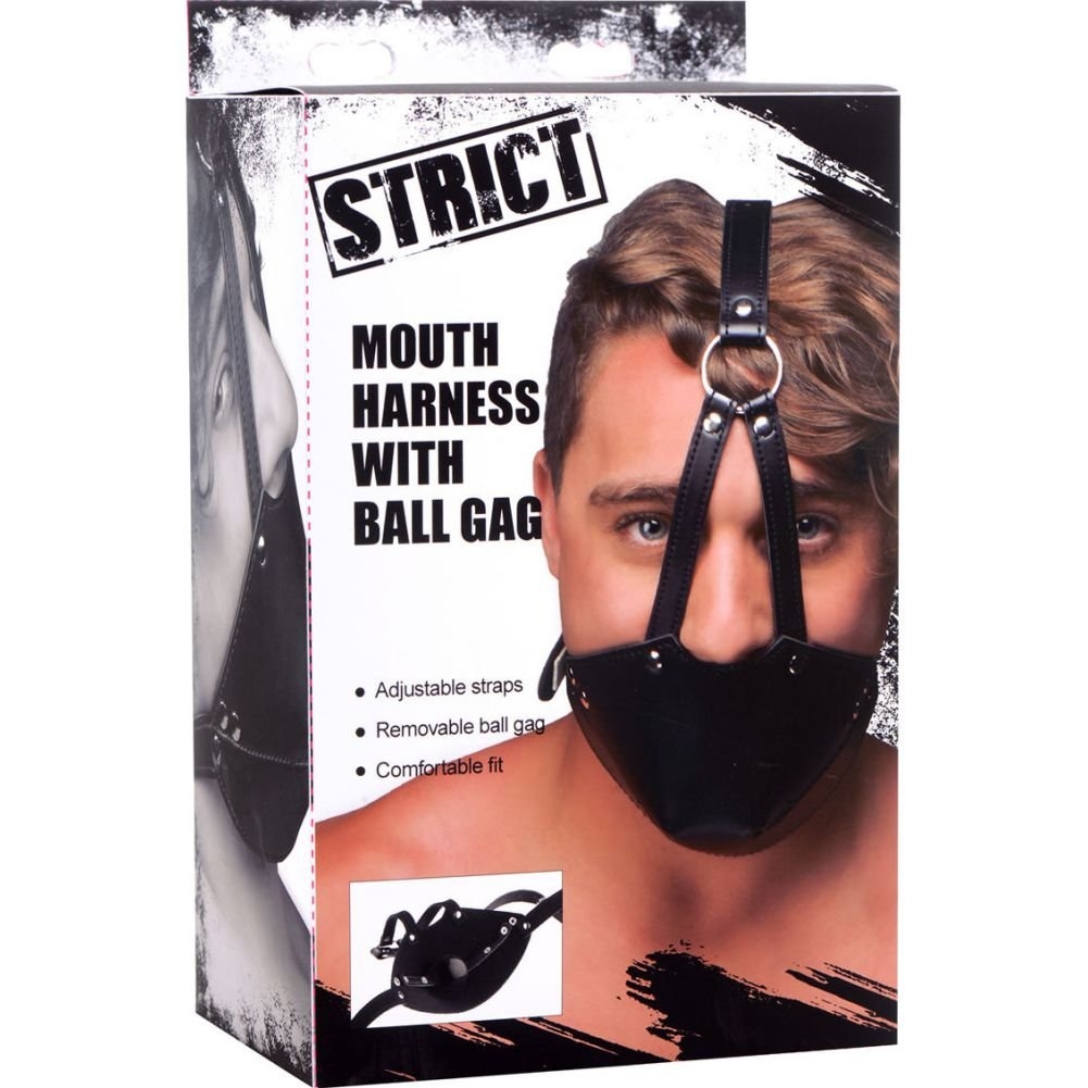 XR Brands Strict Mouth Harness with Ball Gag Black - View #4