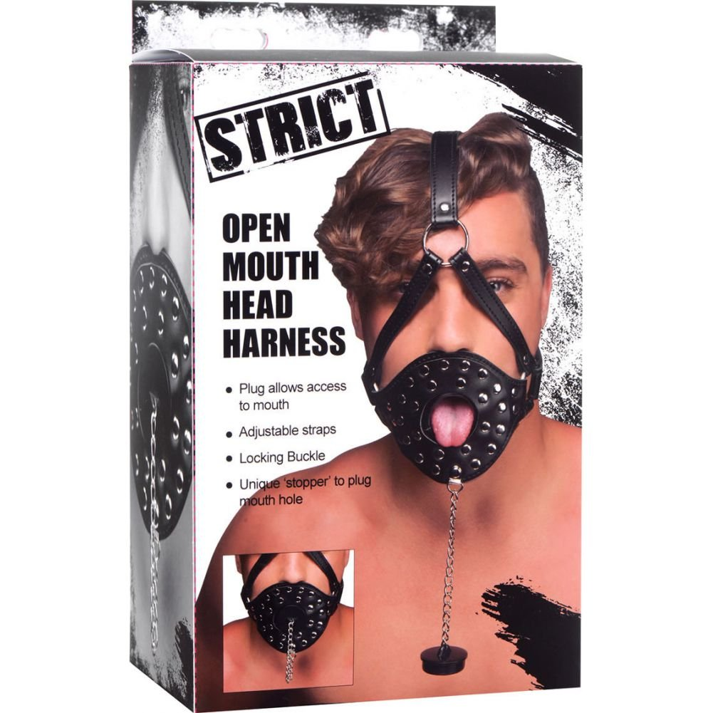 XR Brands Strict Open Mouth Head Harness Black - View #4