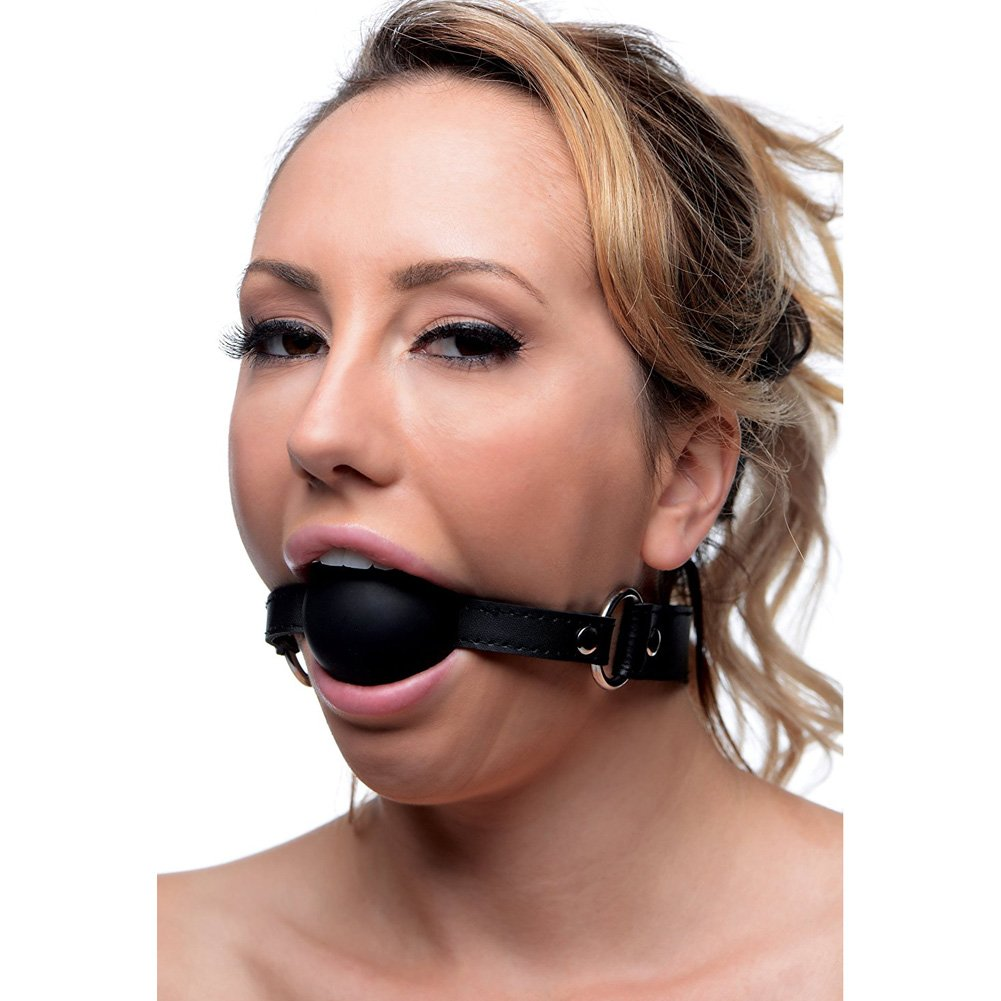 """STRICT by XR Brands XL Silicone Ball Gag 2"""" Black - View #2"""
