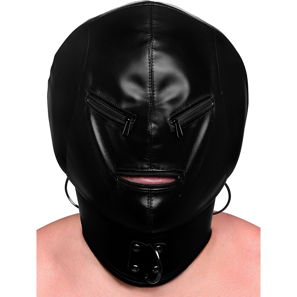 XR Brands Strict Bondage Hood with Posture Collar and Zippers Black - View #2