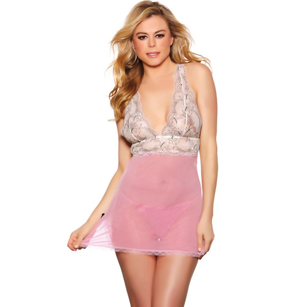 Popsi Lingerie Sheer Babydoll with Lace Top and Thong Medium Pink - View #1