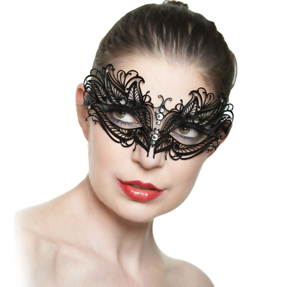 Kayso Classic Venetian Masquerade Mask No. 6 Black/ Crystal Clear - View #1