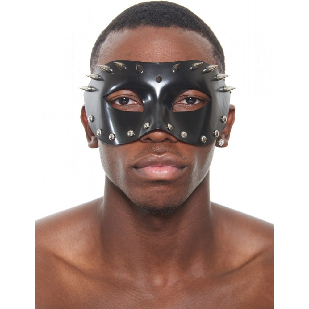 Kayso Spiked Venetian Mask Black with Studs - View #1