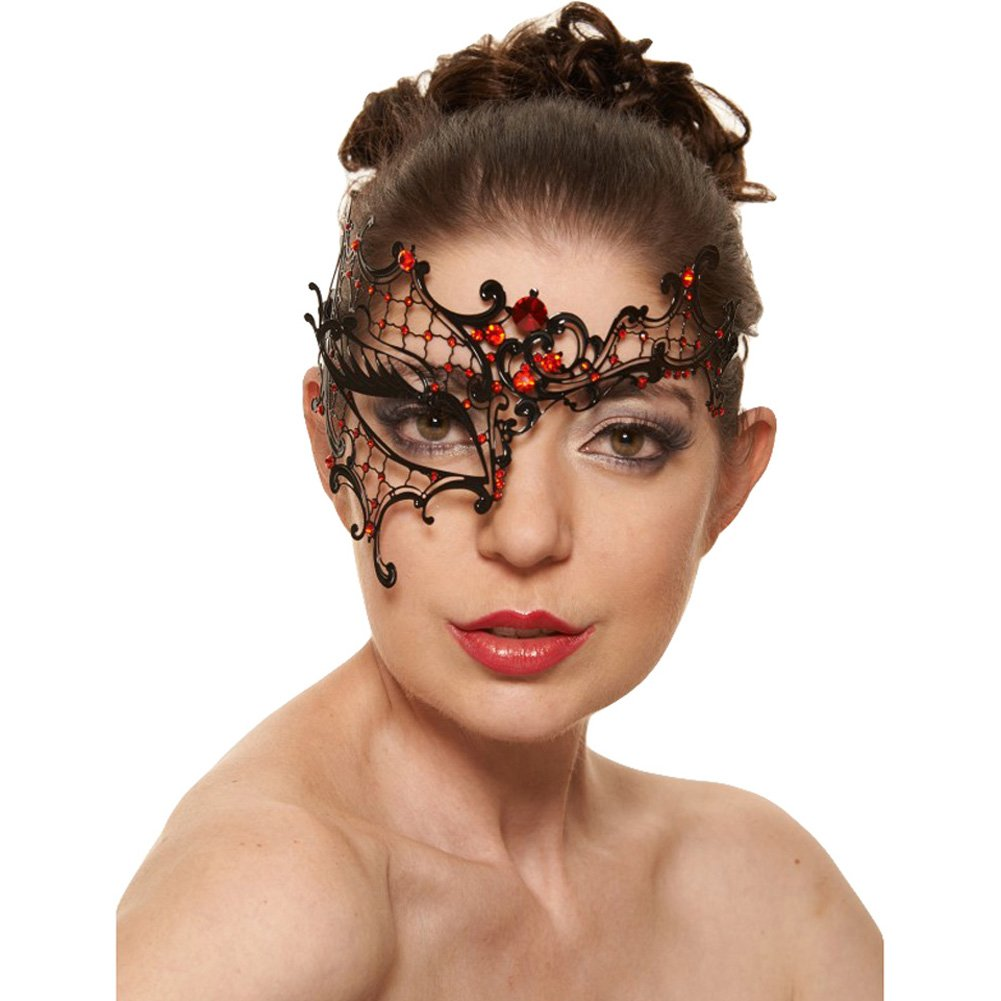 Kayso Venetian Half Mask Black/ Red - View #1