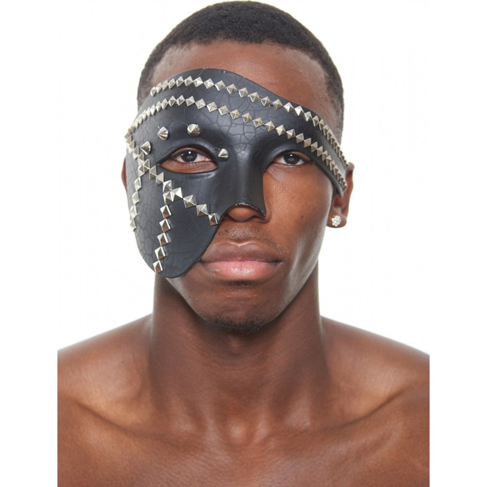 Kayso Leather Venetian Half Mask Black with Studs - View #1