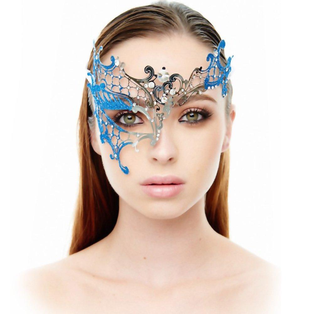Kayso Venetian Half Mask Silver/ Blue - View #1