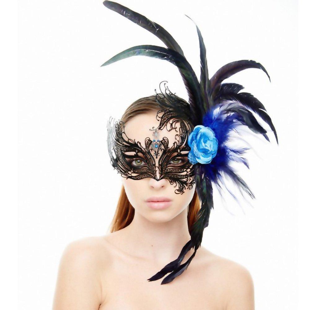 Kayso Venetian Blue Rose Masquerade Mask Black - View #1