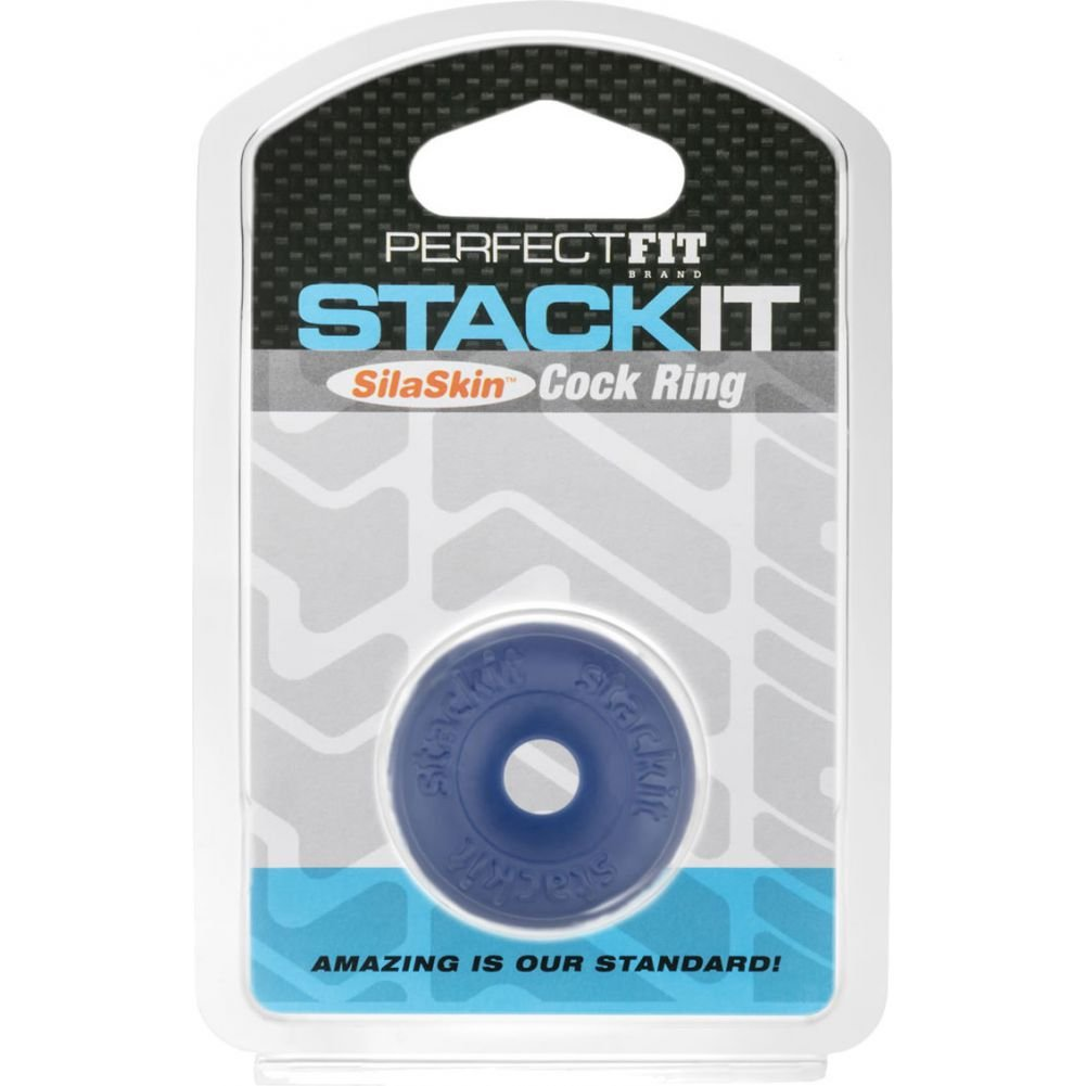 Perfect Fit Stackit SilaSkin Cock Ring Blue - View #1