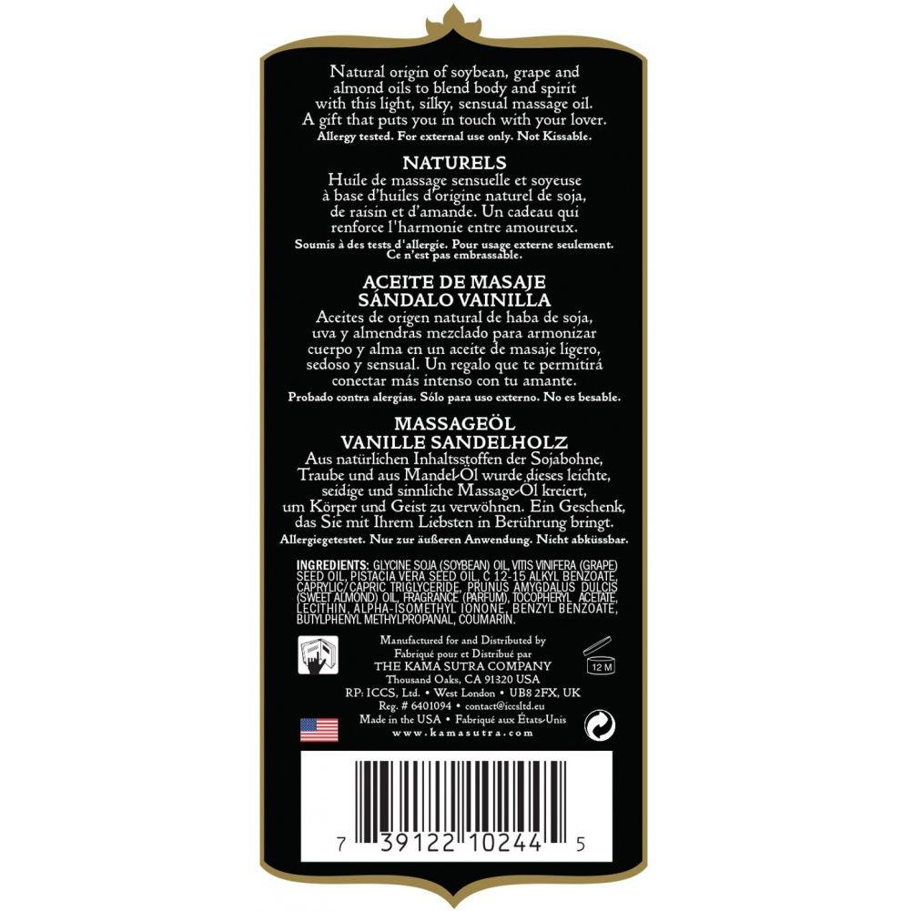 Naturals Sensual Massage Oil by Kama Sutra 8 Fl.Oz 236 mL Vanilla Sandlewood - View #1