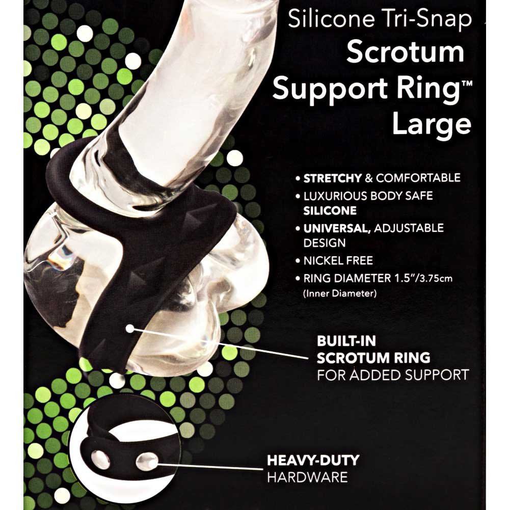 CalExotics Silicone Tri Snap Scrotum Support Ring Large Black - View #1