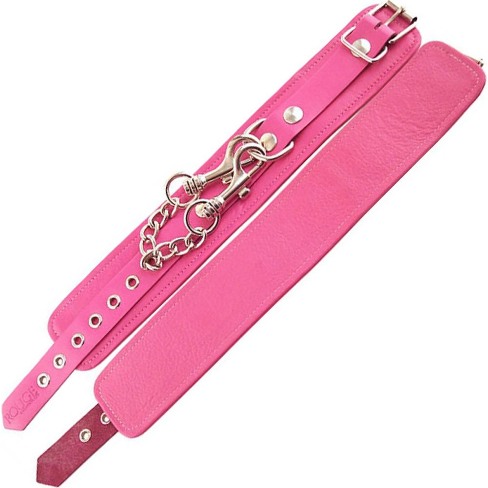 Rouge Garments Classic Leather Ankle Cuffs One Size Bubblegum/Chrome - View #1