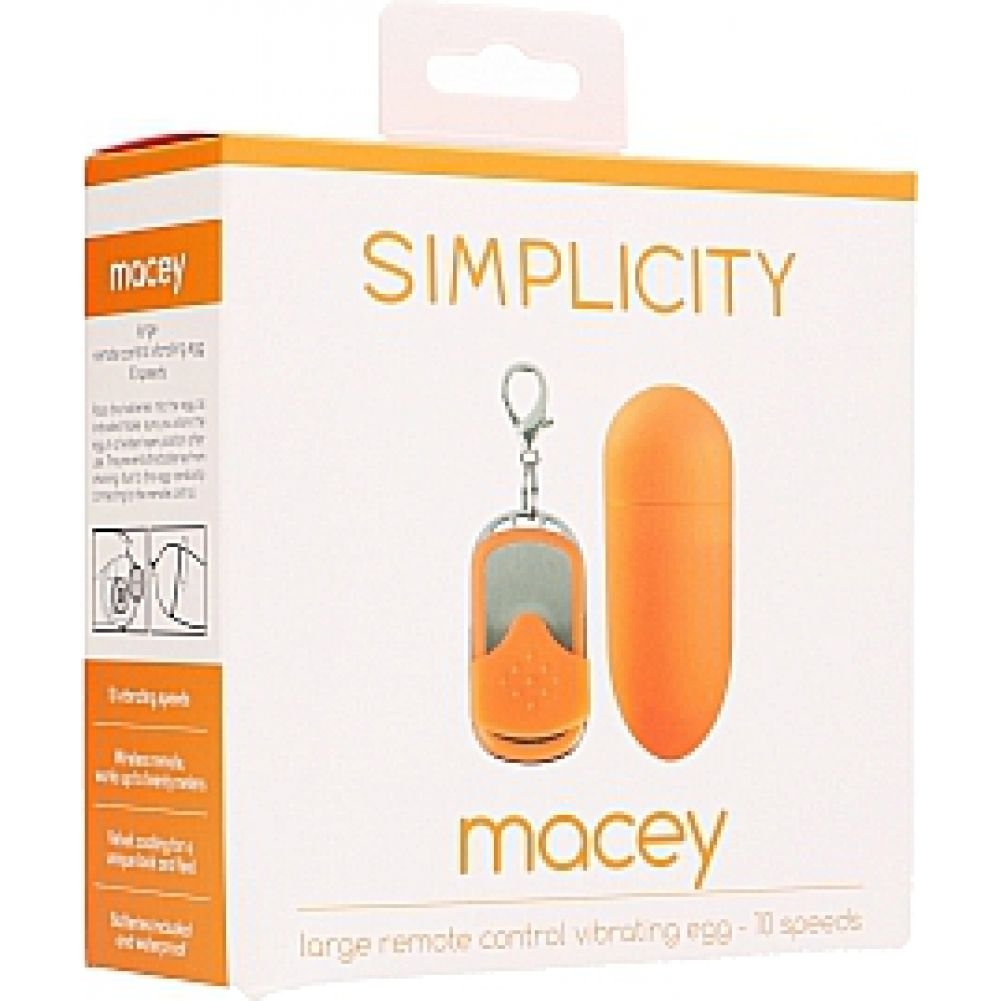 "Simplicity Macey Large 10-Speed Vibrating Egg with Wireless Remote 3.25"" Tangerine - View #1"