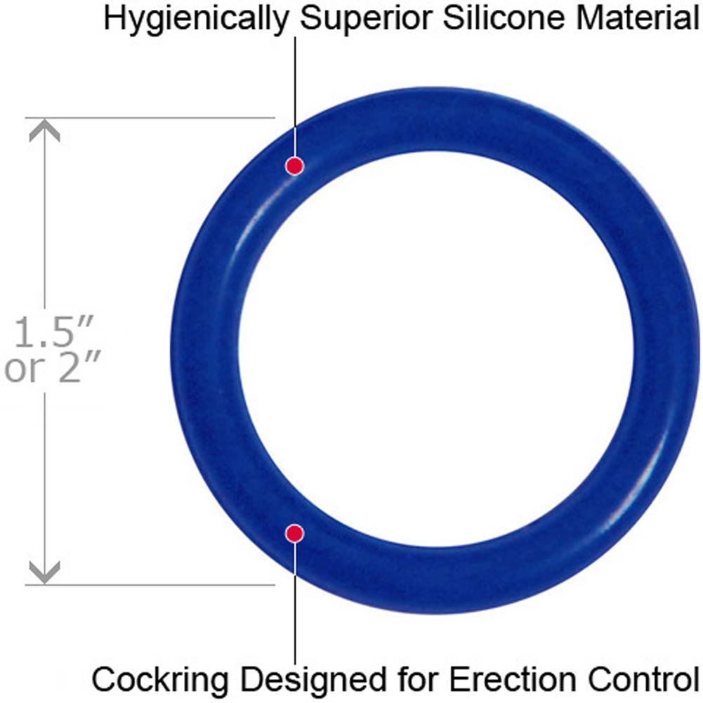 BlueLine C and B Gear Silicone Cock Ring Set Blue - View #3