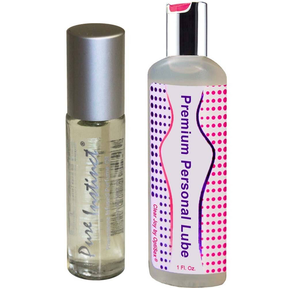 Pure Instinct Roll-On Sex Attractant Cologne and OptiSex Clear Joy Premium Lube 1 Oz - View #2