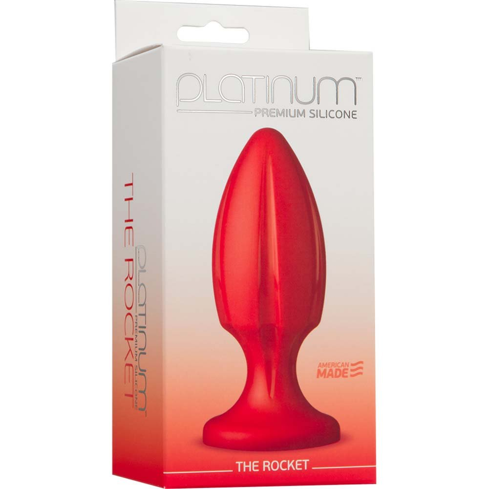 "Platinum Premium Silicone the Rocket Butt Plug 4.75"" Red - View #1"