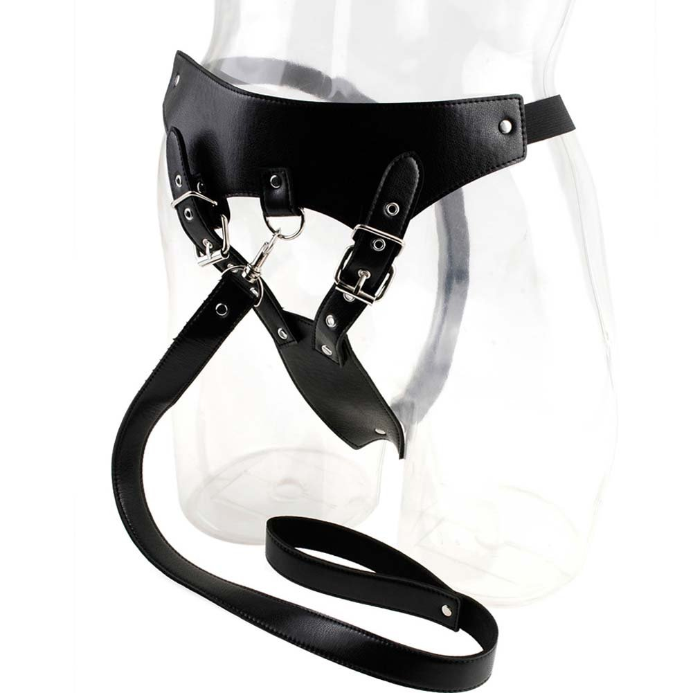 Fetish Fantasy Series Chastity Panty and Leash Black - View #1