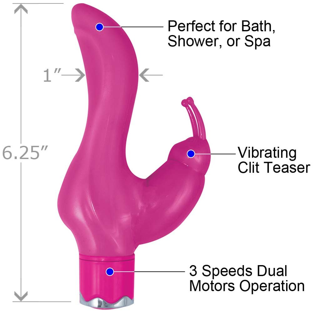 "Party Girl Vibrating Clit Teaser 6.25"" Pink - View #1"