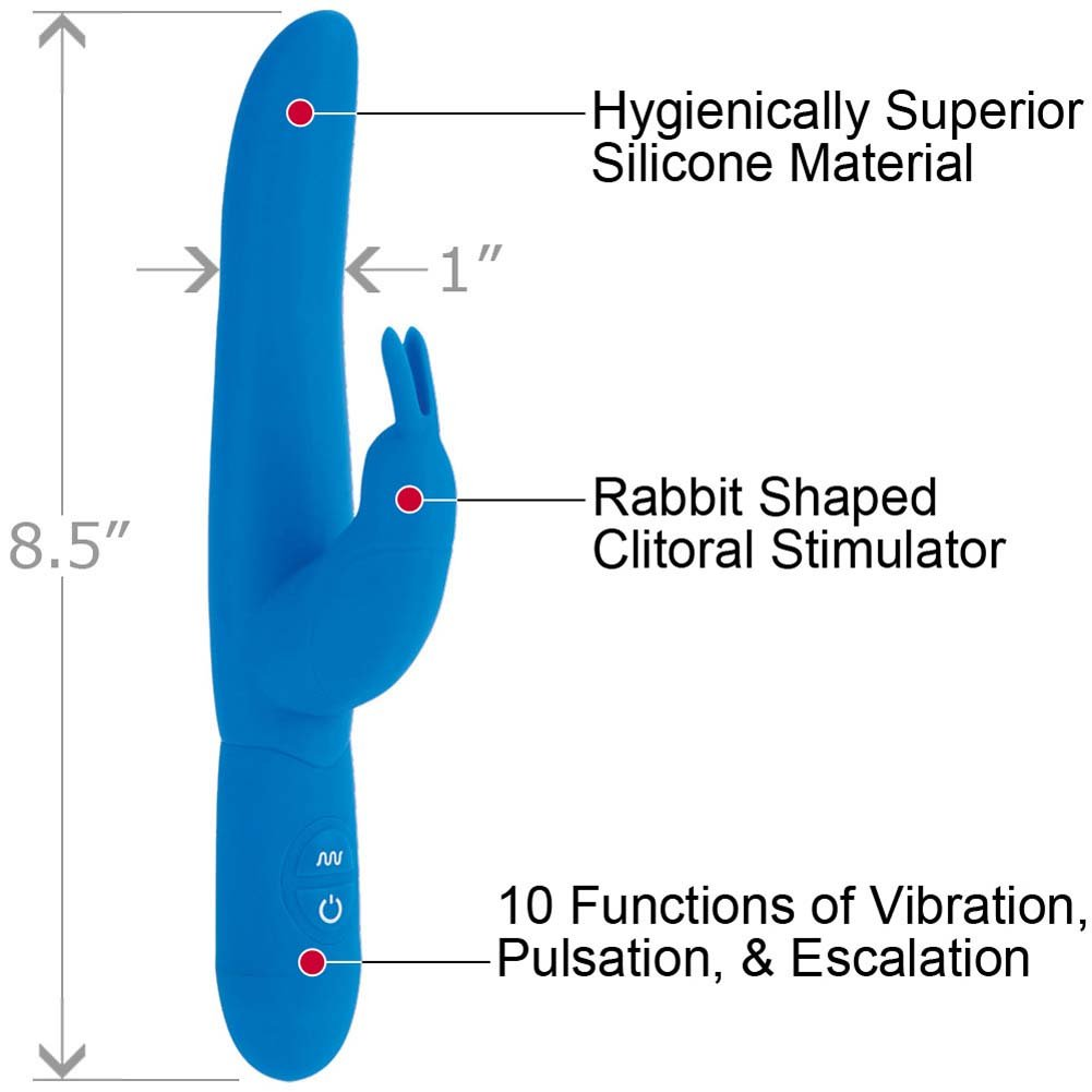 "CalExotics Posh 10 Function Bounding Bunny Vibrator 8.5"" Blue - View #1"