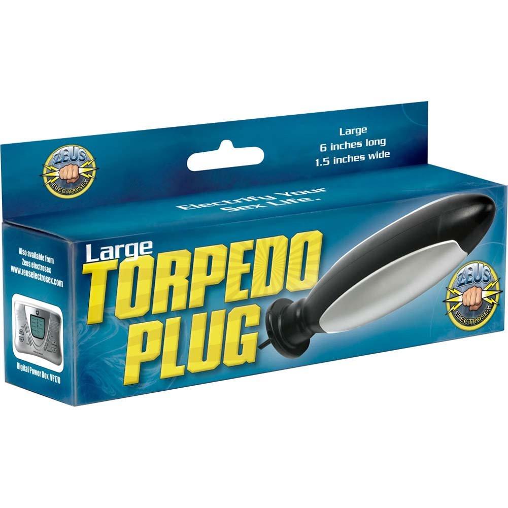 "Zeus Electrosex Torpedo Large Plug 6"" Black - View #1"