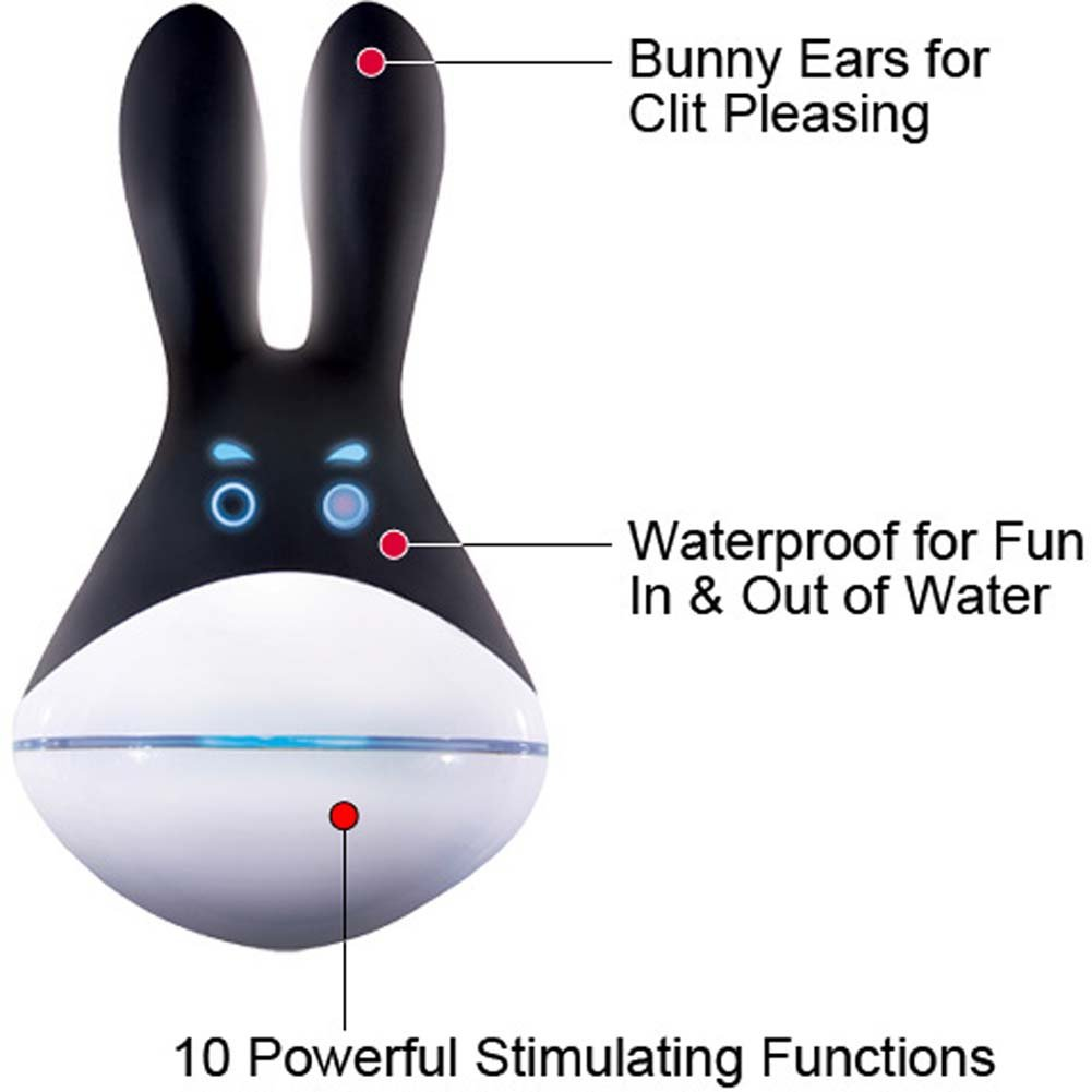 Muse Silicone Rechargeable Vibrating Rabbit Massager Black - View #1