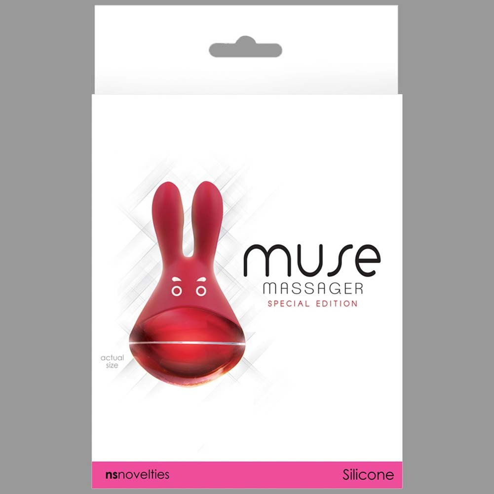 Muse Silicone Rechargeable Vibrating Rabbit Massager Red - View #3