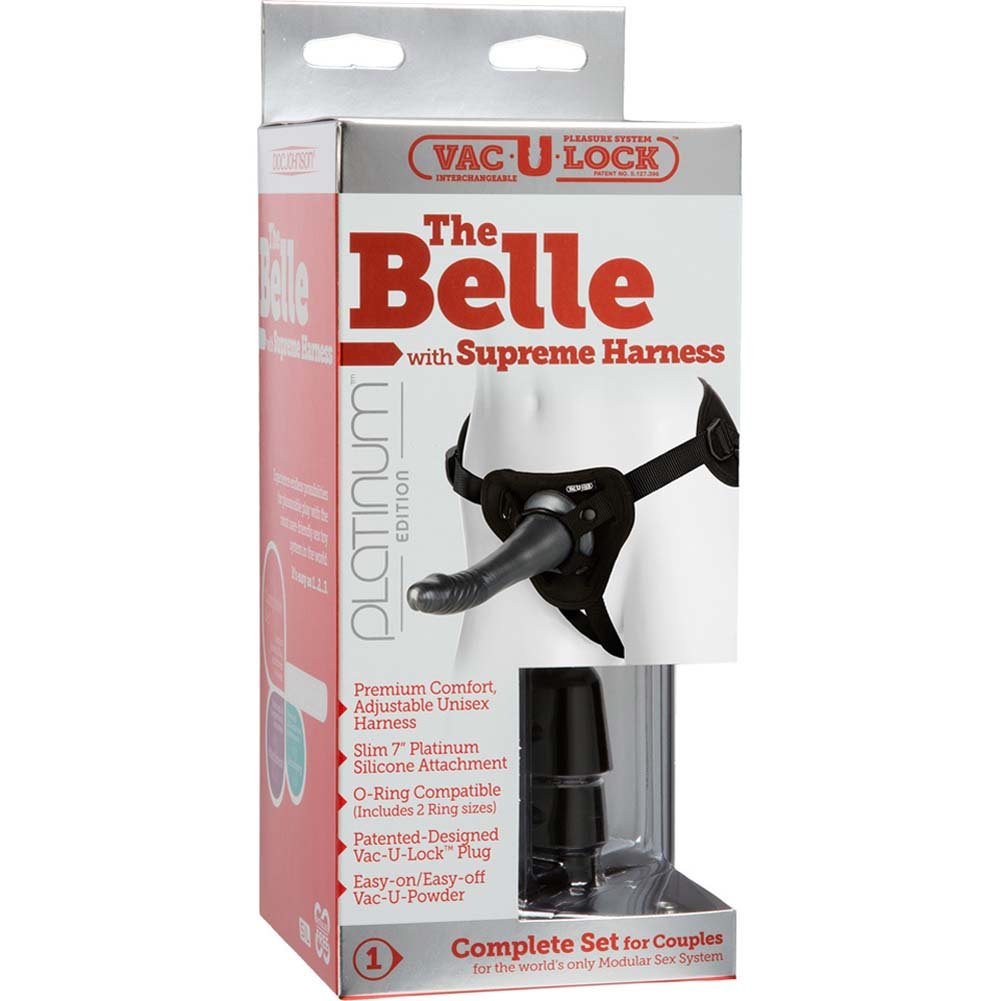 "Vac-U-Lock Supreme Harness with Belle Silicone Dong 7"" Charcoal - View #1"