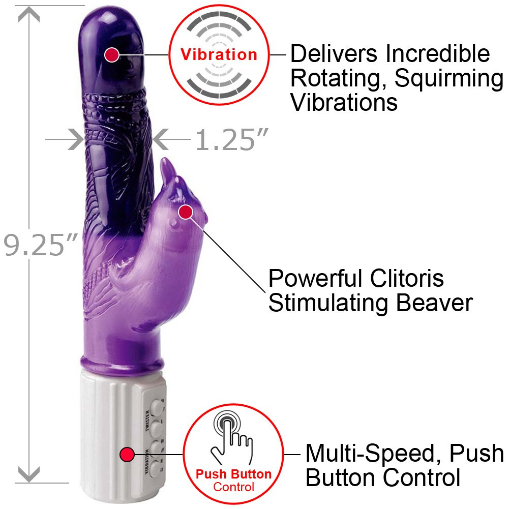 "Jelly Eager Beaver Female Vibrator 9.25"" Purple - View #1"