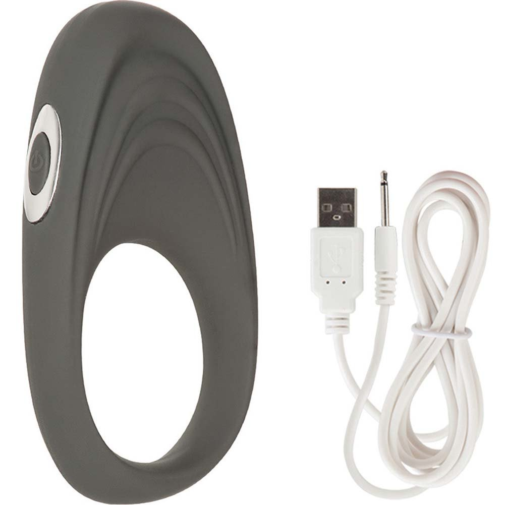 California Exotics Embrace Pleasure Ring USB Rechargeable Silicone Cockring Gray - View #2