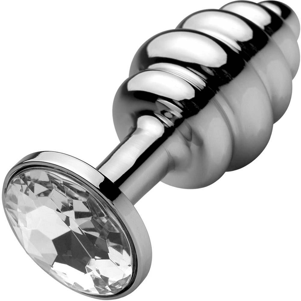 "Metal Worx Mini Ribbed Butt Plug 2.75"" Silver - View #2"