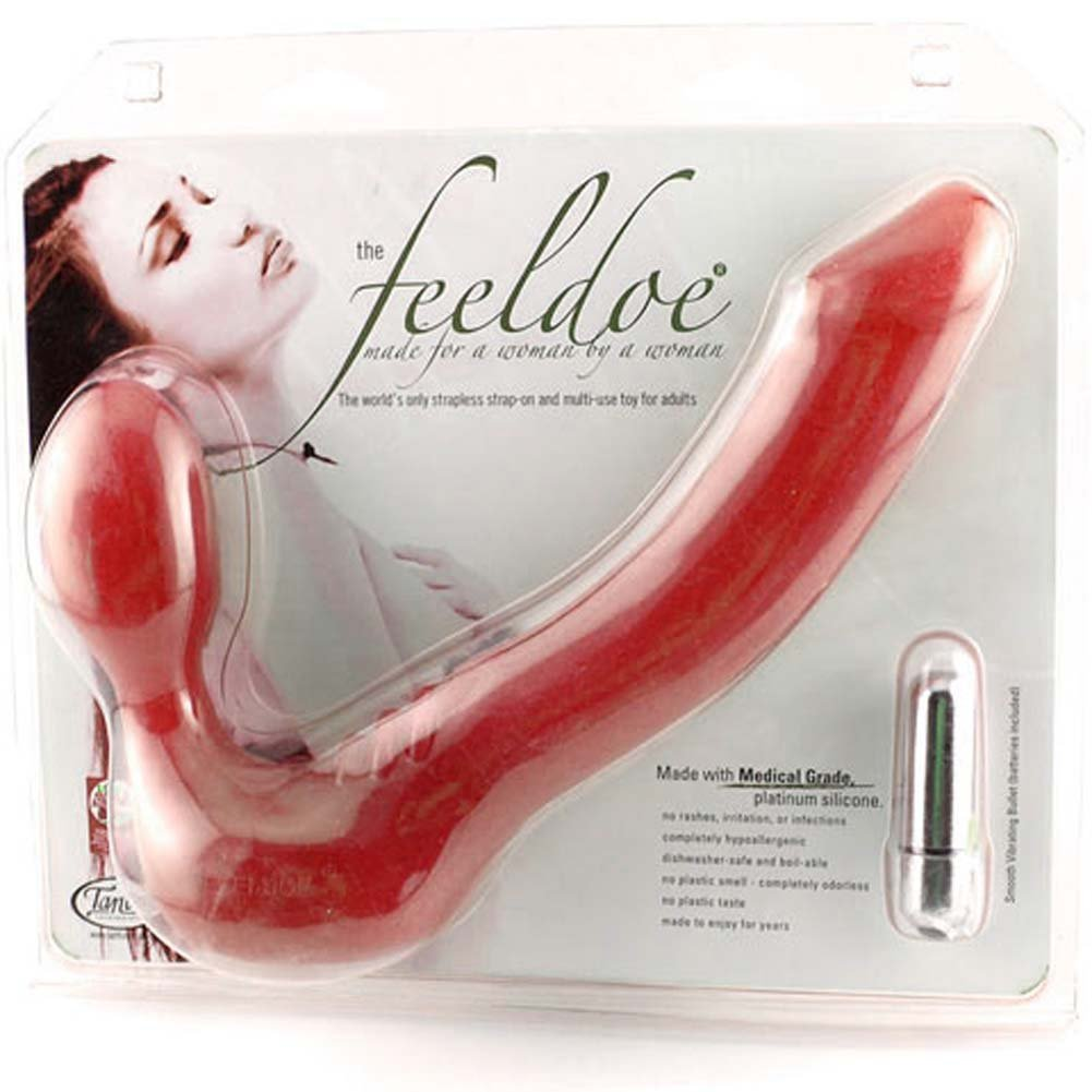 "Tantus Feeldoe Strapless Strap-On Silicone Dong 7"" Red - View #3"