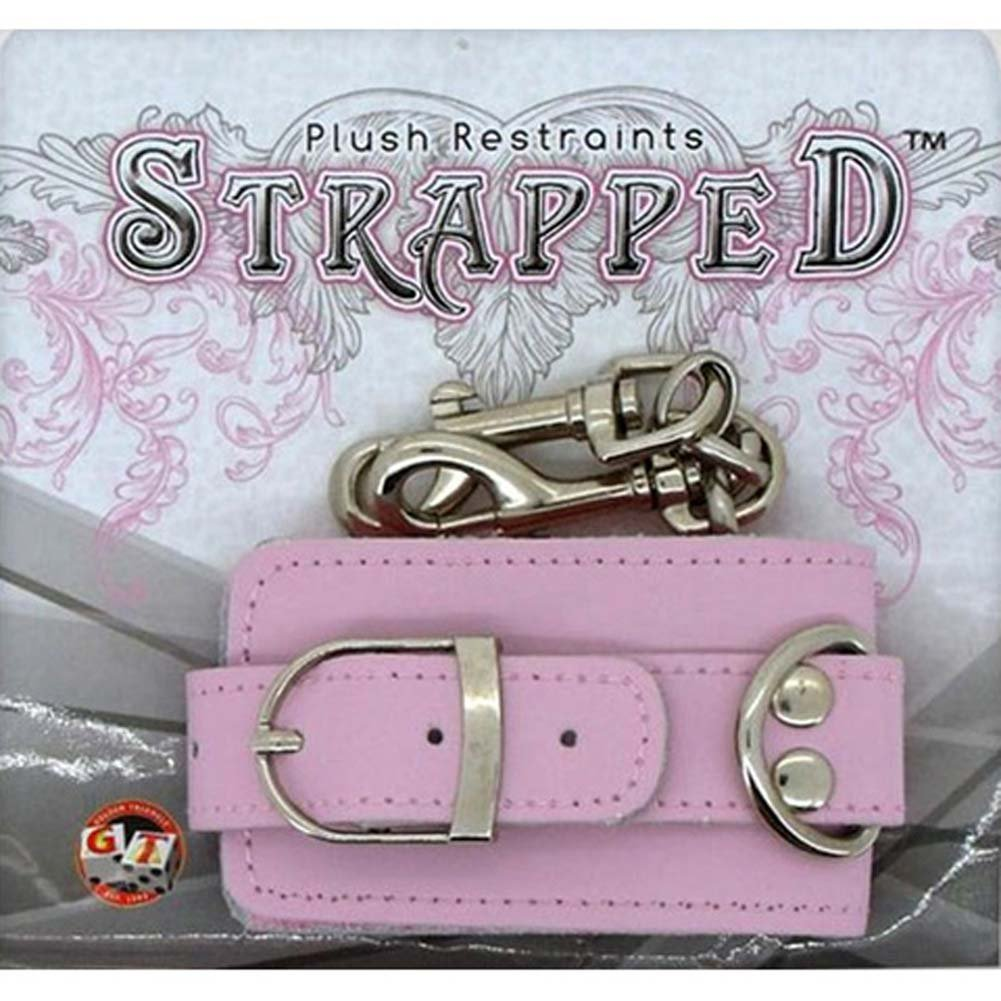 Strapped Plush Leather Cuffs Pink - View #1