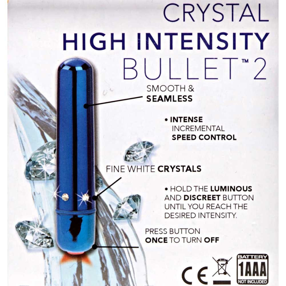 "California Exotics Crystal High Intensity Waterproof Bullet 3.5"" Blue - View #1"