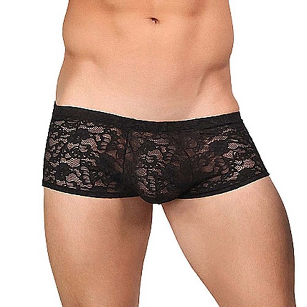 Male Power Stretch Lace Mini Short Medium Black - View #1