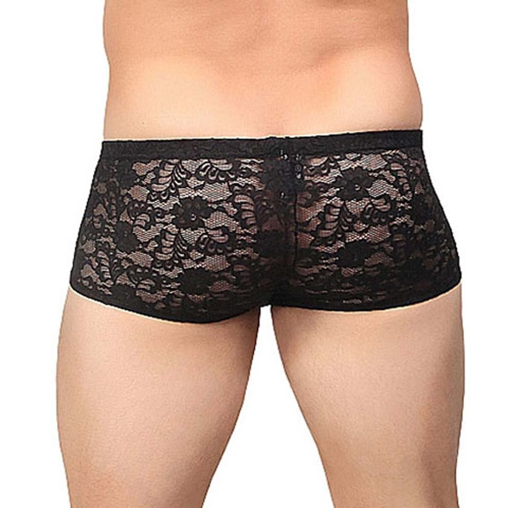 Male Power Stretch Lace Mini Short Large Black - View #2