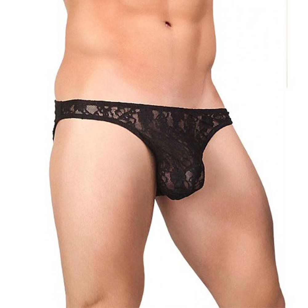 Male Power Stretch Lace Wonder Bikini Medium Black - View #1