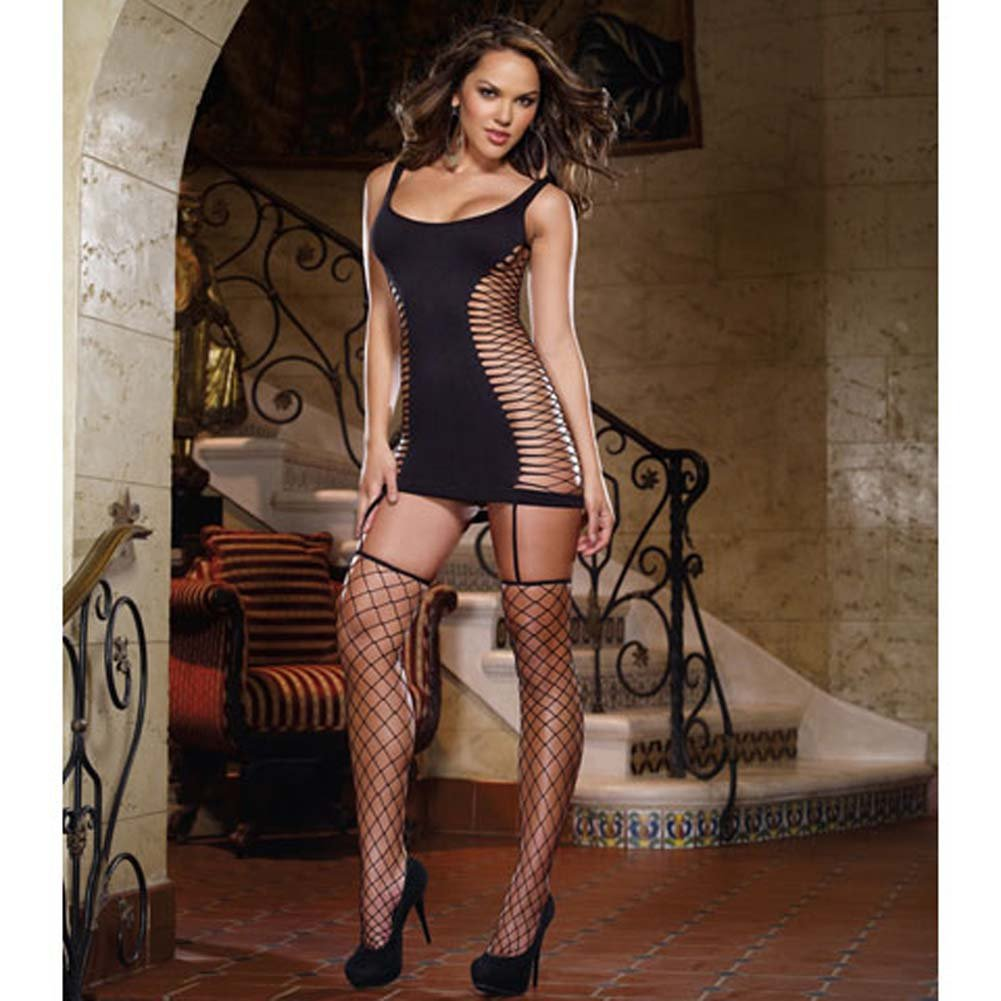 Capri Garter Dress with Fence Net Stockings One Size Black - View #3