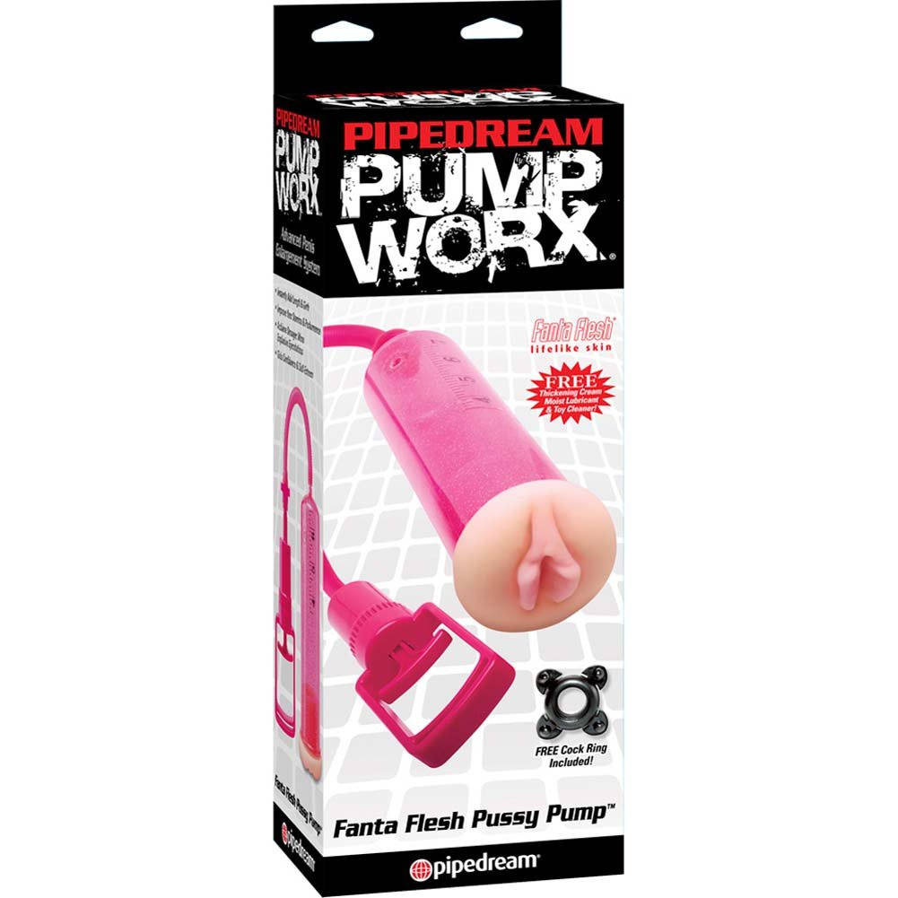 Pump Worx Fanta Flesh Penis Pump for Men Hot Pink Pussy - View #1