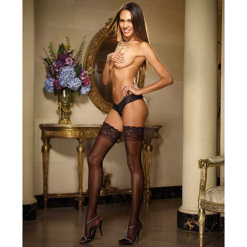 Dreamgirl Stay Up Sheer Thigh High with Lace Top One Size Black - View #3