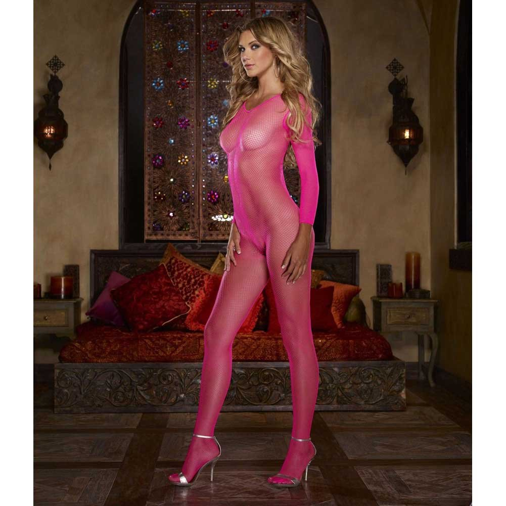 Fishnet Open Crotch Bodystocking One Size Neon Pink - View #3