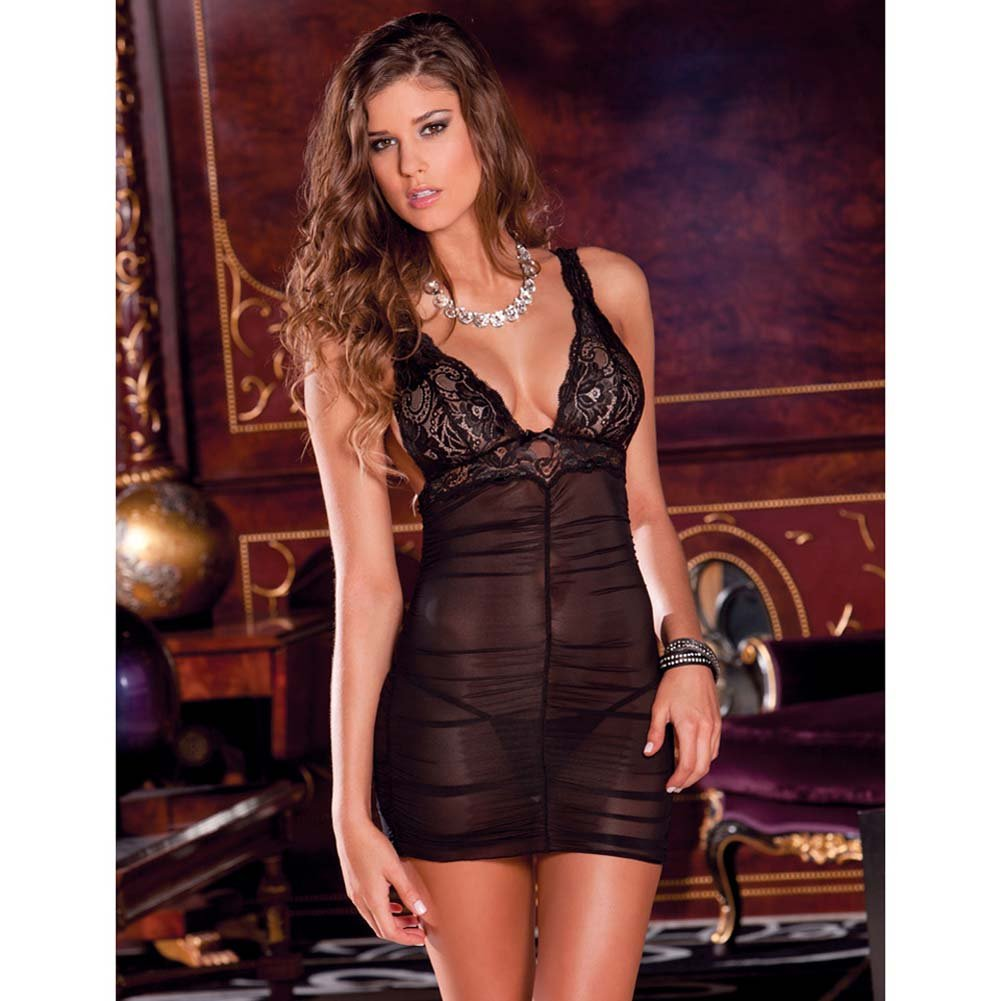 Ruched Mesh and Lace Chemise with G-String Set Small/Medium Black - View #3