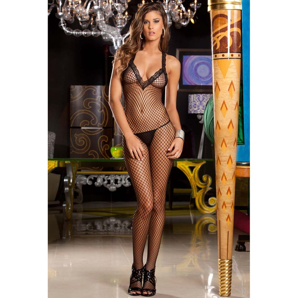 Lace V Neck Fishnet Bodystocking One Size Black - View #1